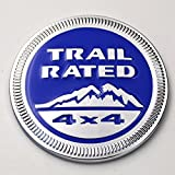 Chrome Trim Blue Metal Trail Rated 4x4 Round Emblem Badge for Jeep Wrangler Unlimited JK Cherookee Rubicon Liberty Patriot Latitude Hydro Blue
