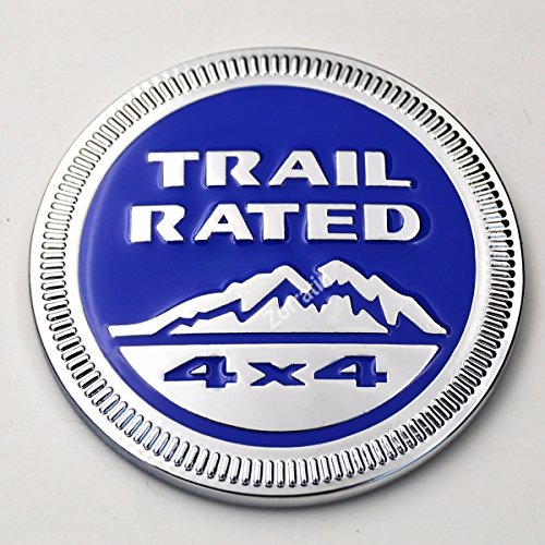 Chrome Trim Blue Metal Trail Rated 4x4 Round Emblem Badge for Jeep Wrangler Unlimited JK Cherookee Rubicon Liberty Patriot Latitude Hydro Blue Rubicon Jeep Trail