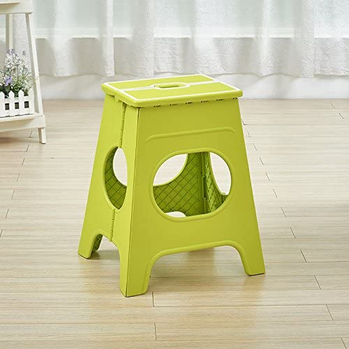 B07CCMLW4L Stool Dana Carrie The folding plastic portable outdoor can be folded on a low adult children home creative benches, high-45cm, green 519tXl4I%2BoL