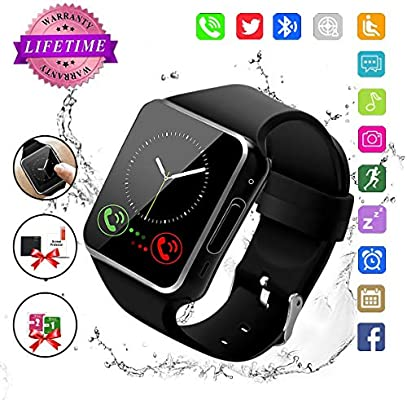 Bluetooth Smart Watch Touchscreen with Camera, Watch Cell Phone with Sim Card Slot,Smart Wrist Watch,Waterproof Smartwatch Phone for Android Samsung ...