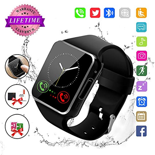 Bluetooth Smart Watch Touchscreen with Camera, Watch Cell Phone with Sim Card Slot,Smart Wrist Watch,Waterproof Smartwatch Phone for Android Samsung IOS Iphone 7 6S Men Women Kids by Newatch