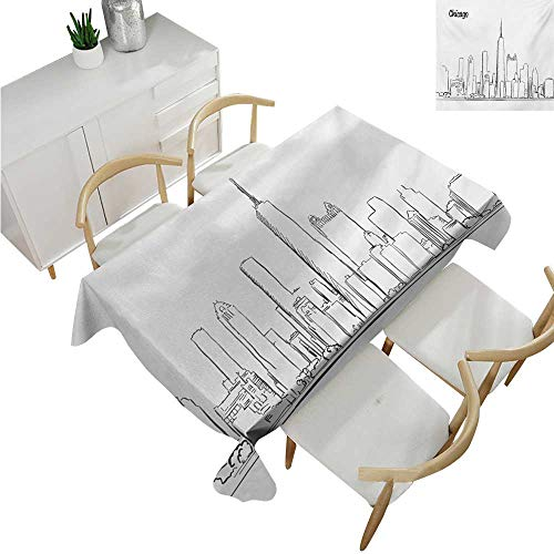 familytaste Chicago Skyline,Wholesale tablecloths,Hand Drawn City Silhouette Downtown Free Hand Sketch of Panoramic Landmark,Fabric Print Tablecloth 70