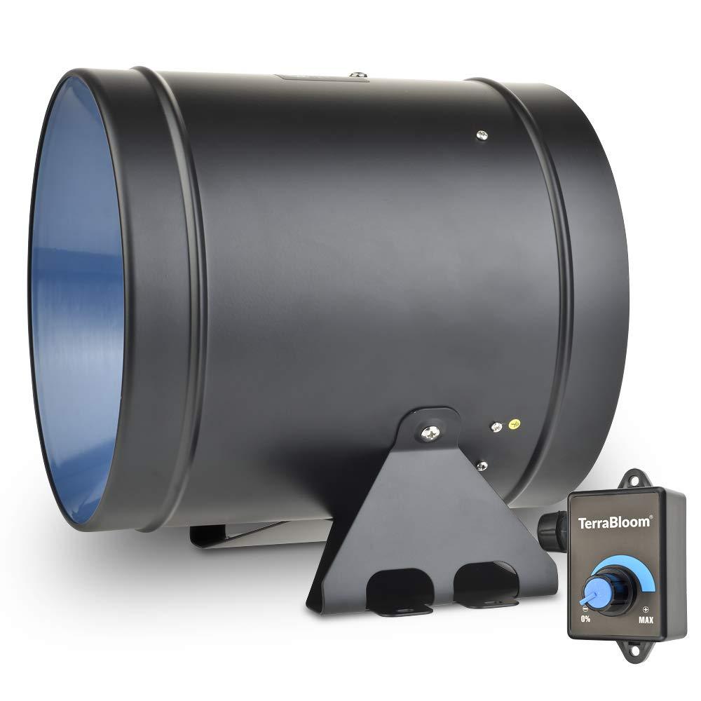 TerraBloom 8'' Inline Duct Fan, Quiet Energy Saving EC Motor with 0-100% Adjustable Speed Control. for Ventilation, Exhaust, Garden and Hydroponics Airflow Boosting. 710 CFM, 75W