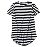 Men's Shirts Short Sleeve Hip Hop Round Hem High Street Striped T-Shirt Black