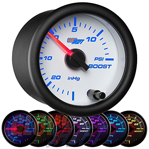 GlowShift White 7 Color 15 PSI Turbo Boost/Vacuum Gauge Kit - Includes Mechanical Hose & T-Fitting - White Dial - Clear Lens - for Cars - 2-1/16