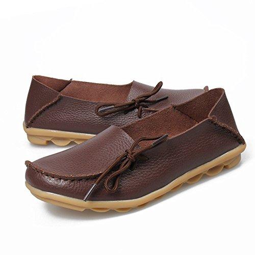 Labato Style Labatostyle Mocasines Casuales De Cuero Para Mujer Conducción Mocasines Pisos Slip-on Zapatilla Zapatos Café