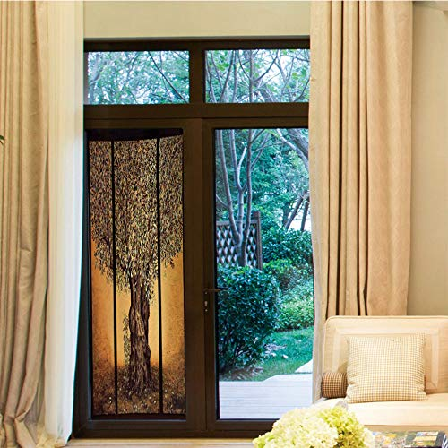 (YOLIYANA Non-Toxic Window Film,Tree of Life,for Indoor & Outdoor Window,Triptych of an Old Mature Olive Tree Mediterranean,24''x70'')