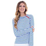 Cabana Life Women's Long Sleeve Zipper Rashguard - Medium - White/Palace Blue Stripe