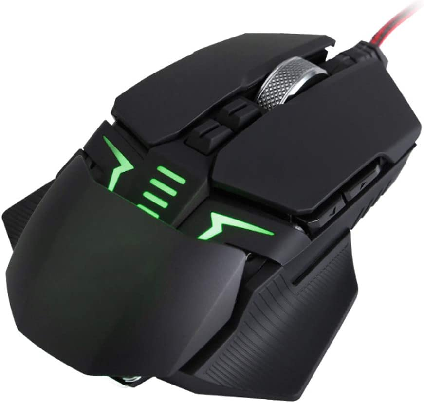 SELCNG 9-Key Metal Mechanical Lighting Gaming Mouse Macro Programming Custom Button-Silvergrey