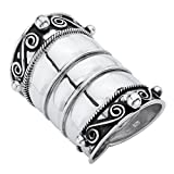 Antiqued .925 Sterling Silver Bohemian Cigar-Band-Style Wide Scroll Ring Band