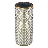 Durable Ceramic Trellis Umbrella Stand for Entryway in Gold/White