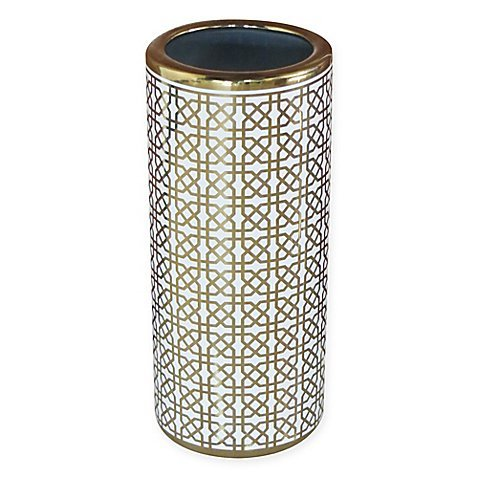 Durable Ceramic Trellis Umbrella Stand for Entryway in Gold/White (Ceramic Umbrella Stands)