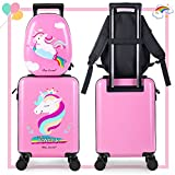 Unicorn Kids Carry on Luggage Set with Spinner