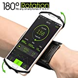 "SWONUK Sports Phone Wristband for Running, Biking,Household Chores 180°Rotatable Phone Holder for 4""-6.5"" Smartphones iPhone X 8 7 6Plus Android Samsung HTC with Key Holder&Earphone Storage"