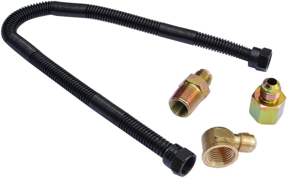 """Stanbroil 3/8"""" X 18"""" Non-Whistle Flexible Flex Gas Line with Brass Ends for Natural Gas or Liquid Propane Fire Pit and Fireplace"""