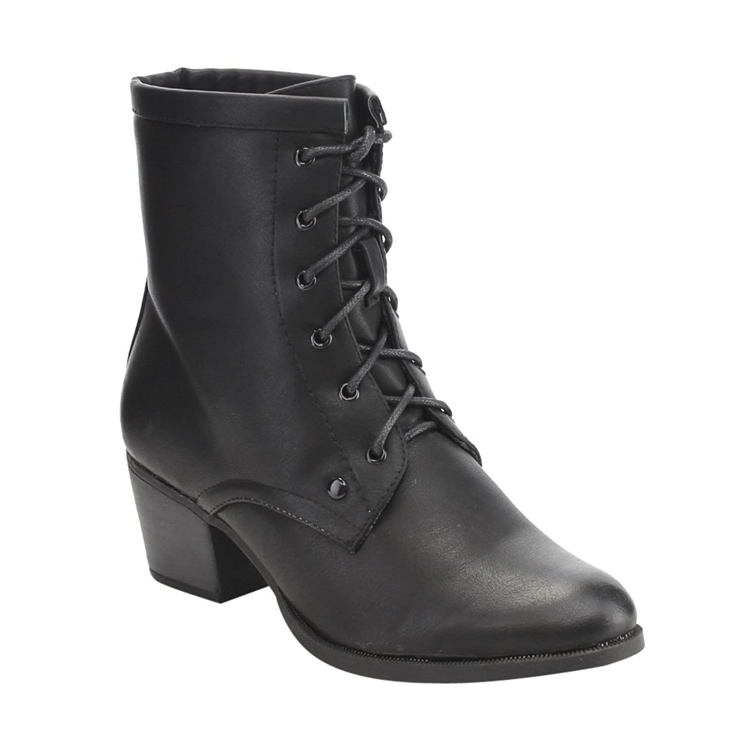 Vintage Style Boots C LABEL AE35 Womens Vintage Front Lace Up Block Heel Mid Calf Dress Boots  AT vintagedancer.com