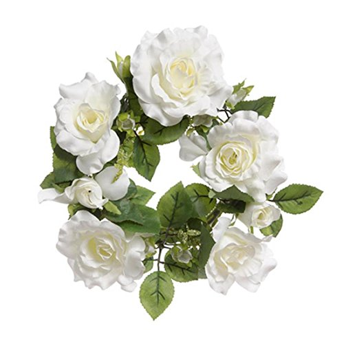 Collection Rose Floral Antique (Darice 30002002 Floral Candle Rings: Roses and Leaves-White)