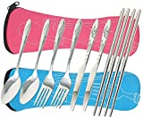 8 Pieces Flatware Sets Knife, Fork, Spoon, Chopsticks, fibound 2 Pack Rustproof Stainless Steel Tableware Dinnerware with Carrying Case for Traveling Camping Picnic Working Hiking (Blue&Pink)