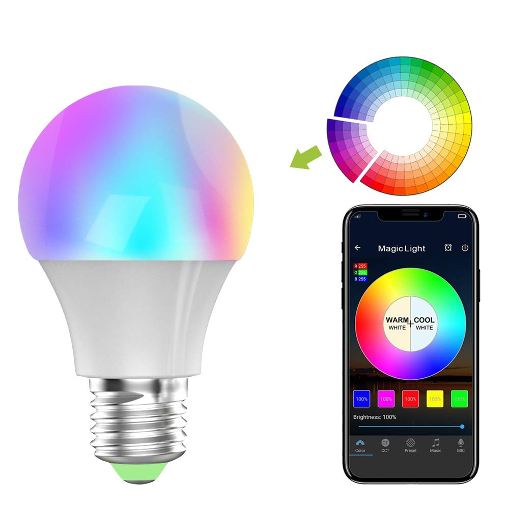 GEEKHOM Smart Light, RGB Multicolored Dimmable Wifi LED Light Bulb Timing Function Compatible with Alex/Google Home Remote & Voice Control by IOS/Android Device No Hub Required