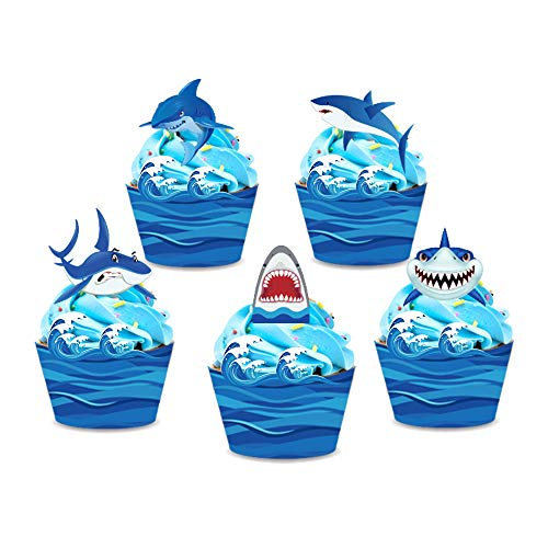 CC HOME Shark Cupcake Wrappers and Toppers (20Pieces),Reversible