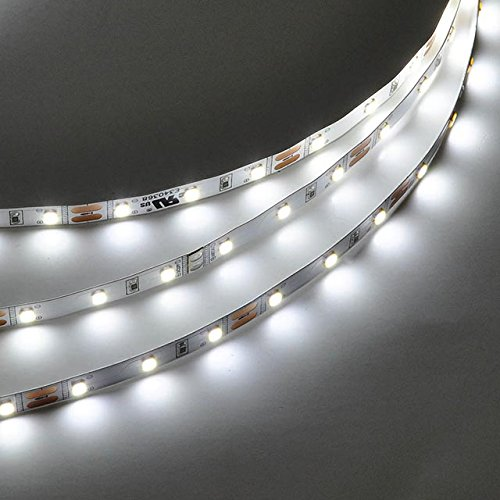 LEDwholesalers UL 12-Volt Flexible LED Strip Kit with Dimmable Voltage Driver and Wall Dimmer Switch 16.4-Feet, White, 20105WH+3286+3340
