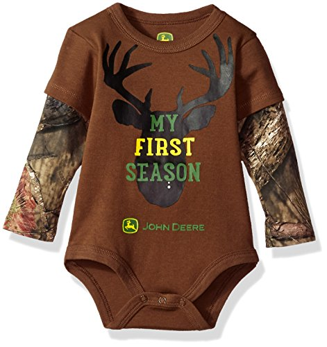 John Deere Baby Boys' Bodysuit, Brown, 9-12 Months