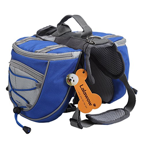 Lalawow Dog Pack Breathable Adjustable Saddle Bag Backpack for Medium & Large Dog (Blue, L)