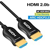 Fiber HDMI Cable 4K 6ft 60Hz, FURUI Fiber Optic HDMI 2.0b Cable HDR, ARC, HDCP2.2, 3D, High Speed 18Gbps Subsampling 4:4:4/4:2:2/4:2:0 Slim and Flexible HDMI Fiber Optic Cable -(2m)
