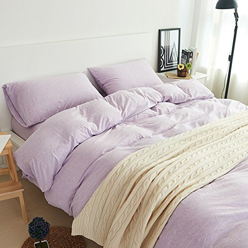 PURE ERA Ultra-soft Heather Jersey Knit Home Bedding 3-piece Duvet Cover Set,1 Comforter Cover and 2 Pillow Shams Lalic King Size (Plum Duvet Cover Set)