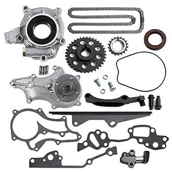 NEW TK2060WPOP Timing Chain Kit (1 Heavy Duty Metal Straight Guide Rail), Water Pump, & Oil Pump 85-95 Toyota 2.4L 4Runner Pickup Celica Engine 22RE 22REC