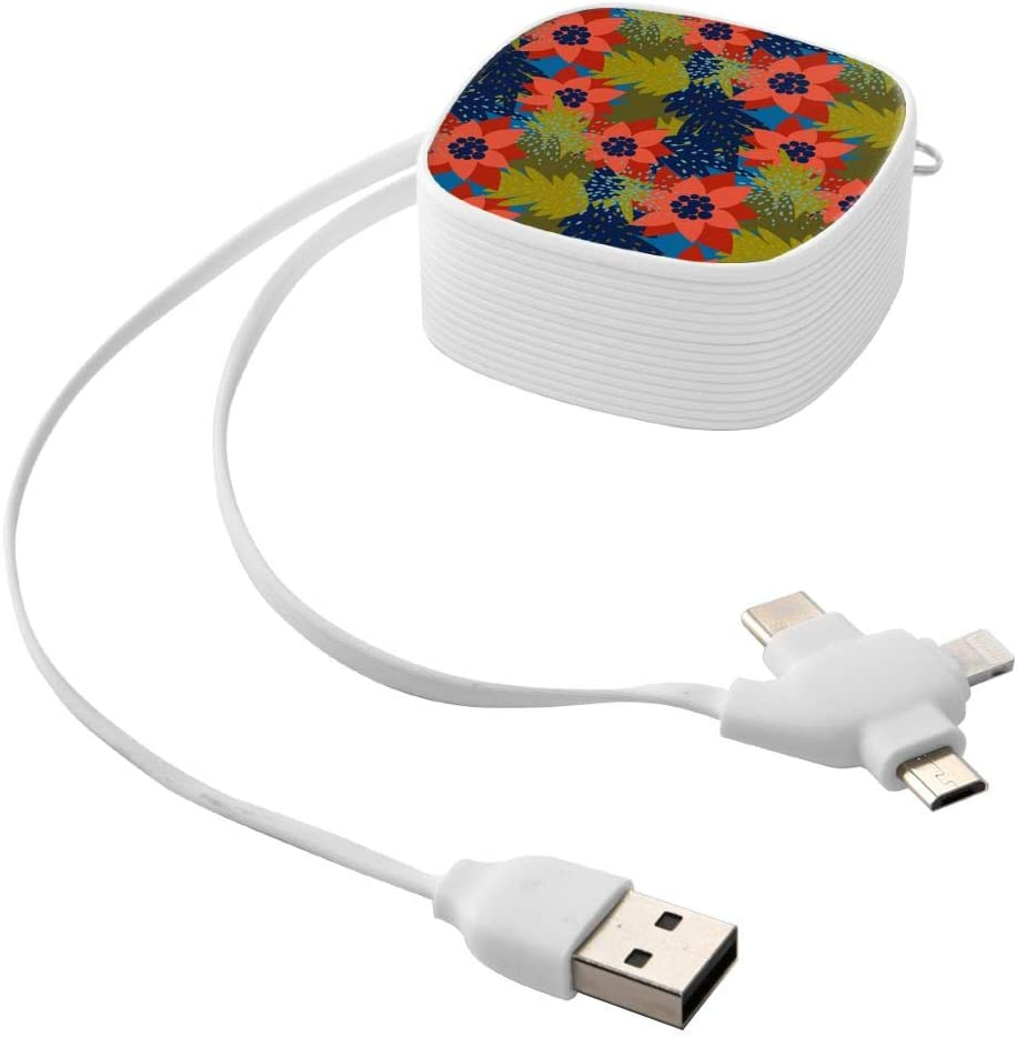 A Mini Three-in-one Data Cable satisfies All Your Charging Equipment Christmas Seamless Pattern with Poinsettiatrendy