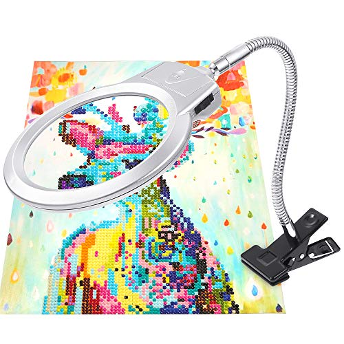 PP OPOUNT 5D Diamond Painting Tools LED Magnifier Light with Clamp, 2.5X & 5X Magnifier for DIY Diamond Painting Kits and Cross Stitch Tool Accessory Magnifier Lamp(Not Contain Diamond Painting)