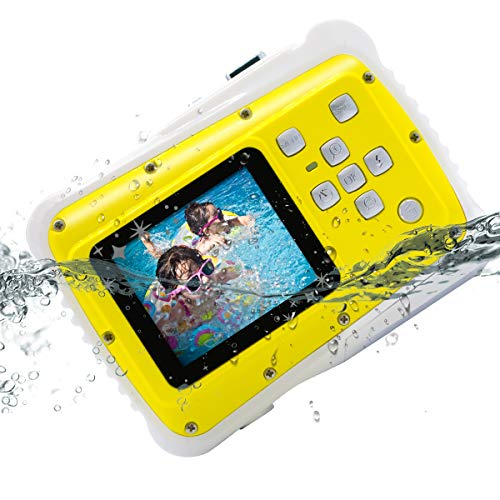 Kids Camera, Vmotal Underwater Action Camera Dust Proof Camcorder Waterproof Sports Camera HD Camcorder for Children Kids Toys with 2 Inch LCD, 8X Digital Zoom (Yellow)