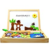 StillCool Wooden Puzzle Magnetic Toy Wooden Puzzle Kids Puzzle Wooden Chalkboard with Colorful Animal Puzzle Educational Game for Toddlers from 3 Years