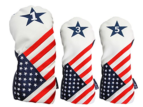 USA 1 3 5 Headcover Patriot Golf Vintage Retro U.S.A Leather Style Patriotic Driver Fairway Wood Head Cover (Golf Wood Course)