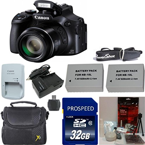 Canon PowerShot SX60 HS 16.1MP Digital Camera with 65x Optical Zoom and Built-in WiFi/ NFC 33rd Street Deluxe Kit with Original Canon Battery + Original Canon Charger + Original Canon Powershot Neck Strap + Deluxe Carrying Case + Extra Battery + Extra Charger + 6pc Commander Starter Kit + 32GB Commander Memory Card + 8pc Accessory Bundle Kit Review
