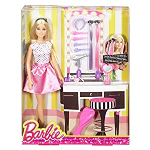 Barbie – DJP92 Doll & Playset with Hair Styling Accessories, Multi Color