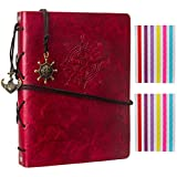 Woodmin Superior Leather Navigation Theme DIY 60 Pages Photo Album, Anniversary Scrapbook, Wedding Gift (Red)