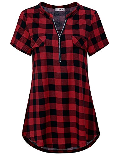 Office BlouseWomen#039s Short Sleeve Tops Turn Down Collared Stylish Plaid Knit Plus Size Clothing Casual Wear Daily Prime Utility Shirt Shirttail Color Block Tunic Tee Red 2# XXL