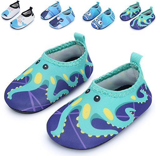 Summer Casual Skin Water Shoes Socks For Baby,Sand Swim Surf Aerobics,Green Octopus 12-18 Months