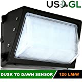 60W LED Wall Pack with Built-in Photo Sensor (400-500 Watt HPS/HID Replacement) 5000K (Daylight) 7232 Lumens, Commercial Grade, Glass Lens, Outdoor Lighting Fixture, UL Listed DLC Qualified