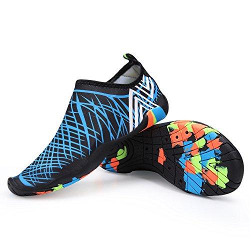 Schnell trocknende Aqua-Wasser-Schuhe Santiro Frauen-Männer für Strand-Pool-Brandungs-Yoga-Übung Blau