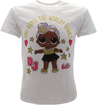 LOL Surprise! Camiseta oficial para niña con purpurina DJ blanca L.O.L.: Amazon.es: Ropa y accesorios