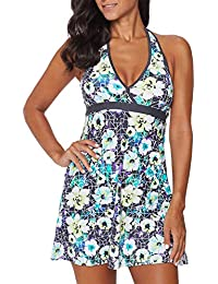 Womens Floral Print Halter V Neck Swimdress Backless One Piece Swimwear