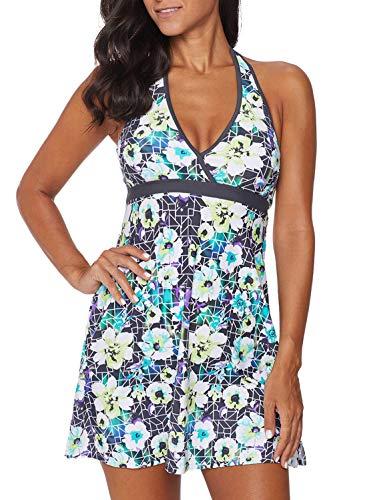 Dearlove Womens Floral Print Halter V Neck Swimdress Backless Tankini One Piece Swim Dress Swimsuit Skirt Swimwear Plus Size Gray 2XL ()