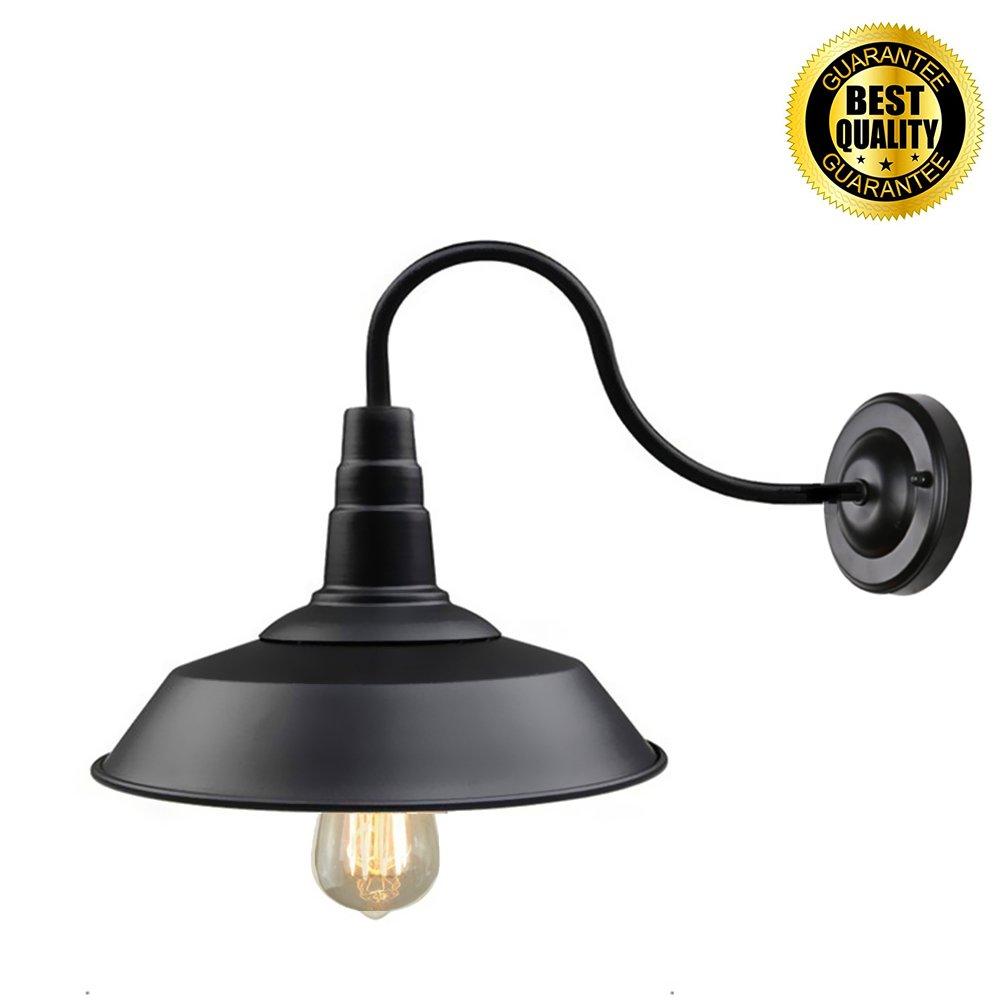 Retro Black Wall Sconce Lighting Gooseneck Barn Lights Industrial Vintage Farmhouse Wall Lamp Led porch light For Indoor Bathroom (Black body)