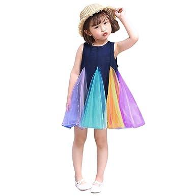 bebé niñas sin Mangas Vestido de Arco Iris Tul tutú Princesa ...