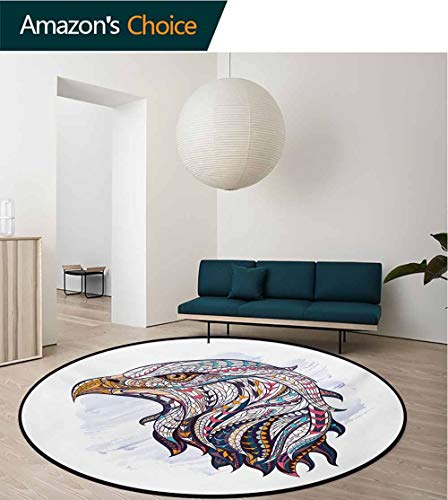 RUGSMAT Eagle Modern Washable Round Bath Mat,African Culture Elements On The Head of The Huge Hunter Bird Watercolor Drawing Style Non-Slip Bathroom Soft Floor Mat Home Decor,Round-63 Inch