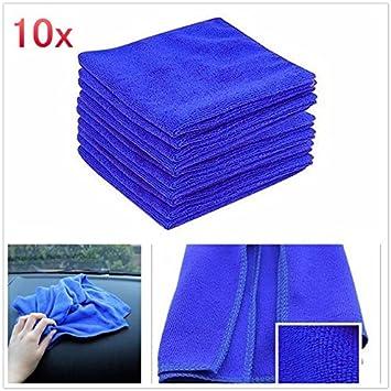 Color azul Pack de 10 Paños de microfibra hogar Dusters pulido de limpieza coche suave Clearning lavado toalla multiusos: Amazon.es: Hogar