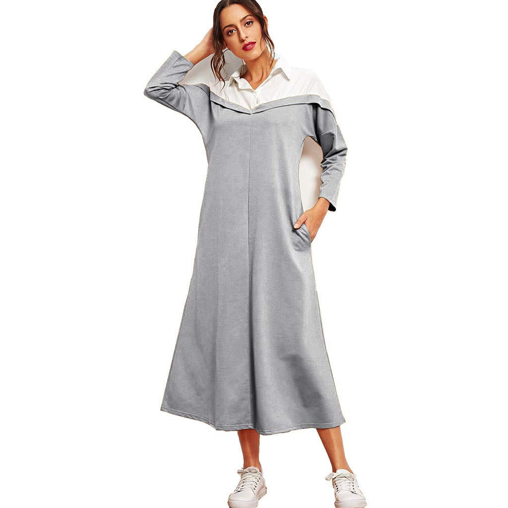 Clearance!Women Lapel Long Sleeve Dress, Lady Middle Eastern Muslim Colorblock Maxi Dress Summer Leisure Loose T-shirt Dresses